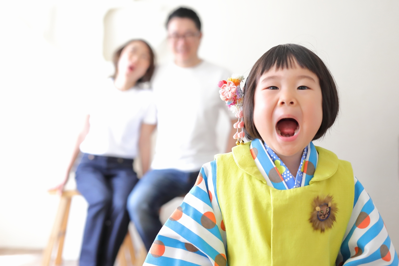七五三撮影,3歳七五三,被布,3歳女子,東京スタジオ
