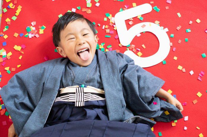 5歳七五三記念写真!デニム生地で揃えたリンクコーデ