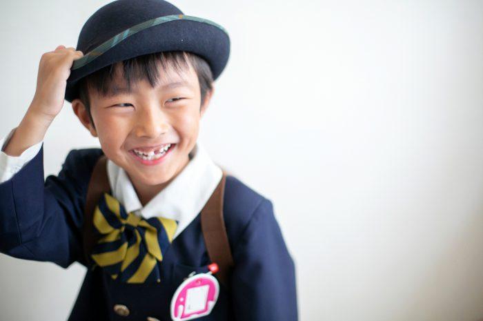 幼稚園の制服でスタジオで卒園写真7