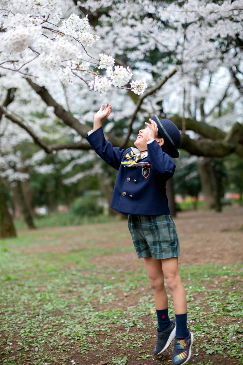 代々木公園で入学記念写真