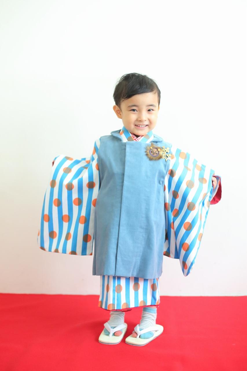 3歳男の子の七五三撮影,かわいい被布姿