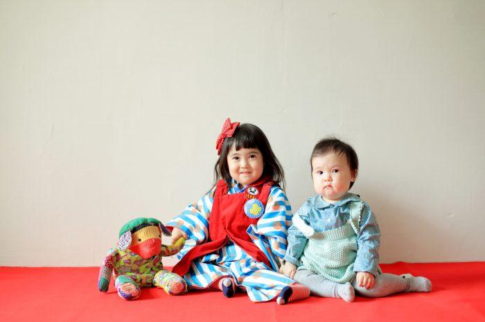 3歳女の子七五三撮影,1歳の妹と一緒に。かわいいふたり