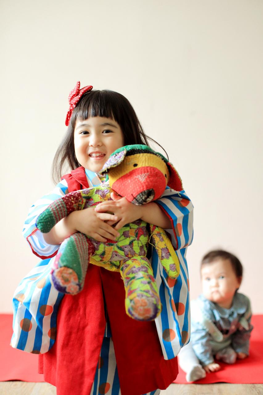 3歳女の子七五三撮影,1歳の妹と一緒に