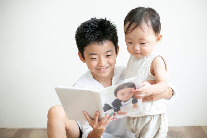 10歳と1歳の兄弟記念撮影