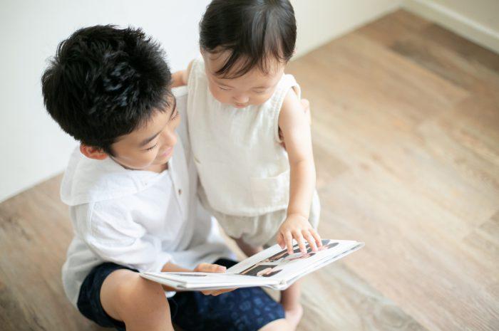 10歳と1歳の兄弟記念撮影,ハーフ成人式記念撮影,ハーフ成人式,お兄ちゃんの1歳の写真集と一緒に