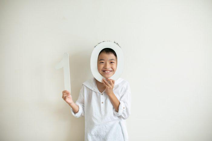 10歳と1歳の兄弟記念撮影,ハーフ成人式記念撮影,ハーフ成人式,10の数字と