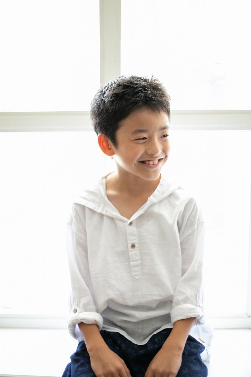 10歳と1歳の兄弟記念撮影,ハーフ成人式記念撮影,かっこいいお兄ちゃん