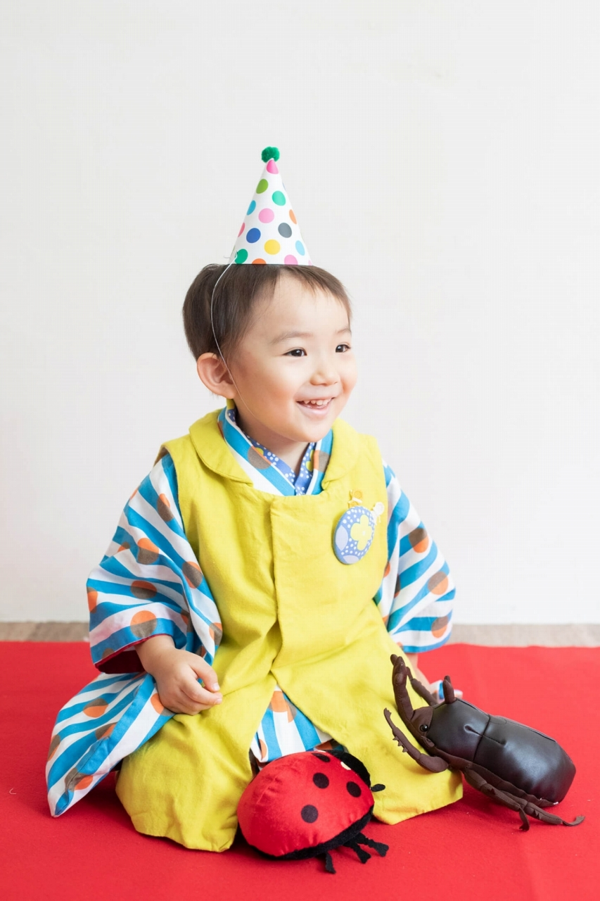 三歳男の子七五三スタジオ撮影,3歳男の子七五三,パーティ帽