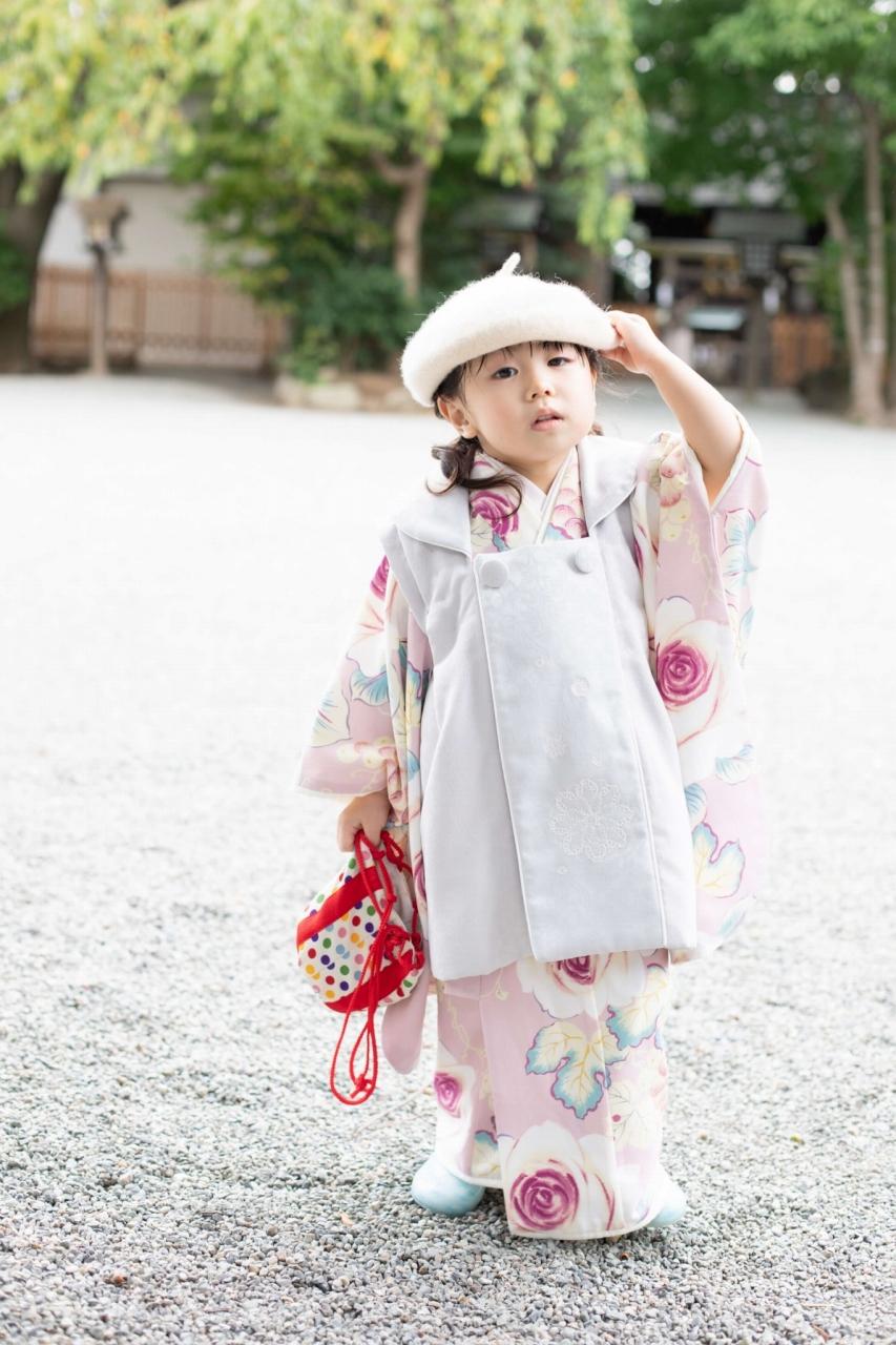 伊勢山皇大神宮で七五三出張撮影,3歳七五三,ベレー帽