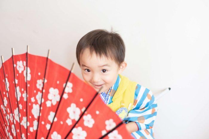 三歳男の子七五三スタジオ撮影,3歳男の子七五三,和傘