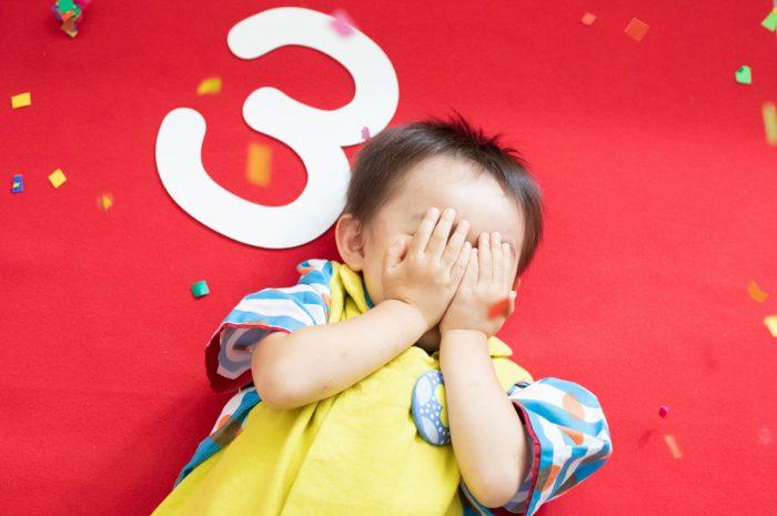 三歳男の子七五三スタジオ撮影,3歳男の子七五三,黄色の被布