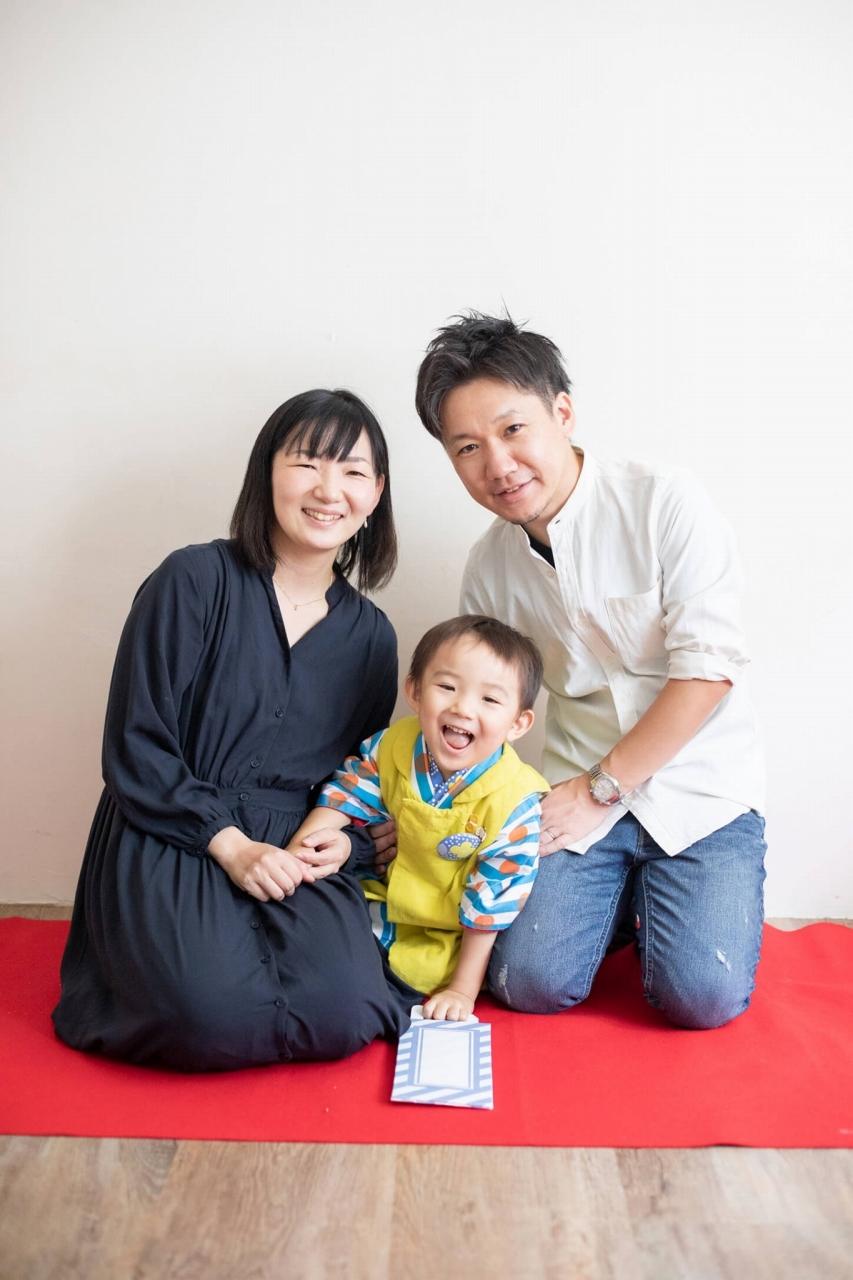 三歳男の子七五三スタジオ撮影,3歳男の子七五三,家族写真