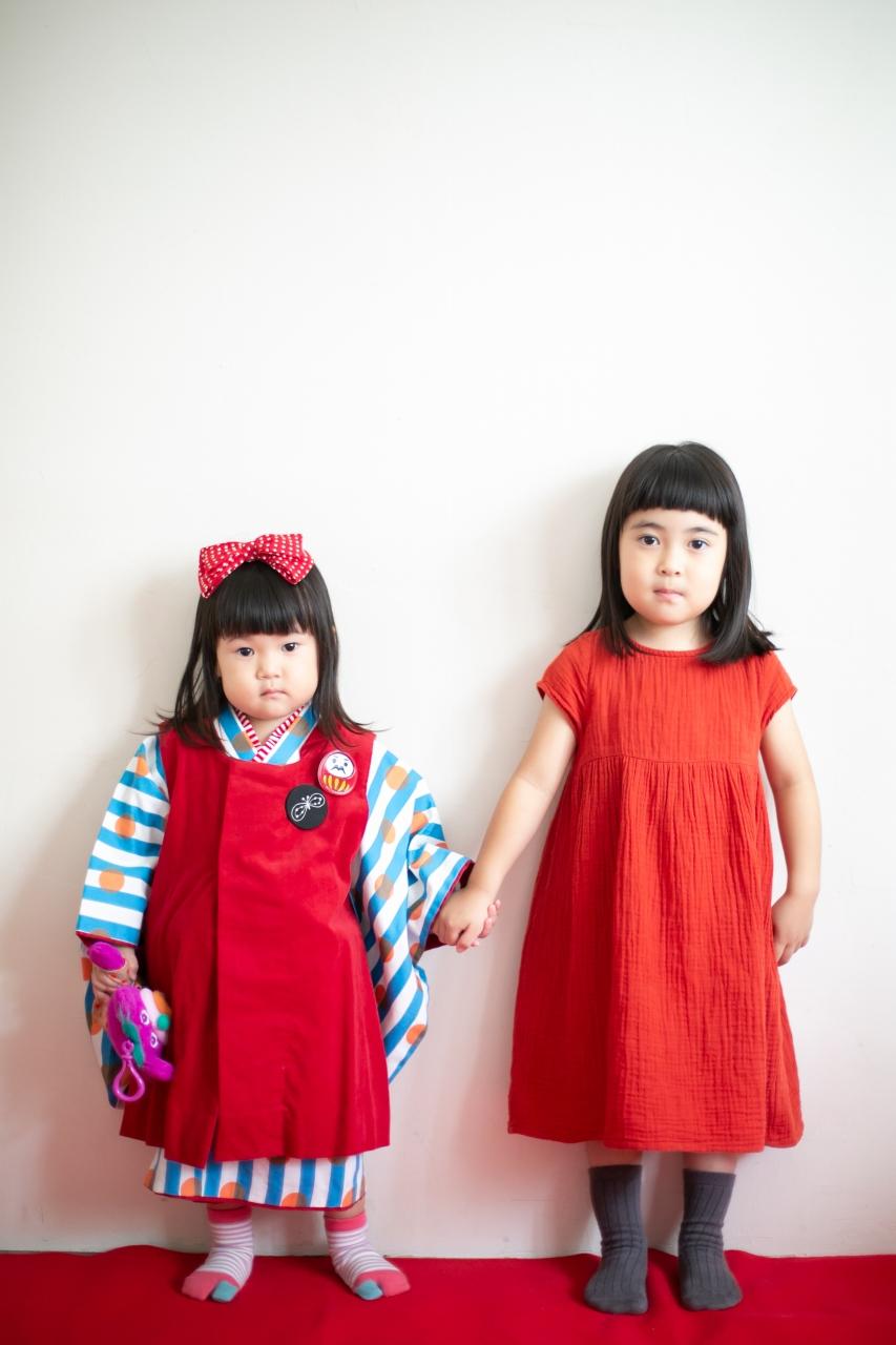 3歳七五三撮影,3歳女子,姉妹撮影,リンクコーデ
