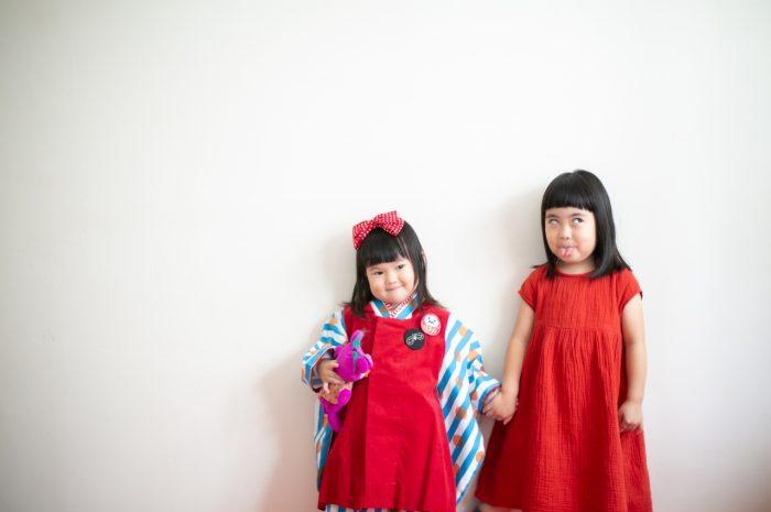 お姉ちゃんが着た同じお着物で3歳七五三撮影