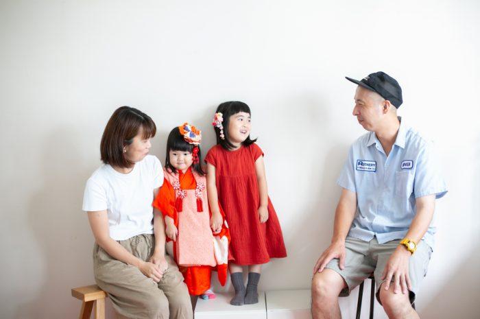 3歳七五三撮影,3歳女子,姉妹撮影,4人家族