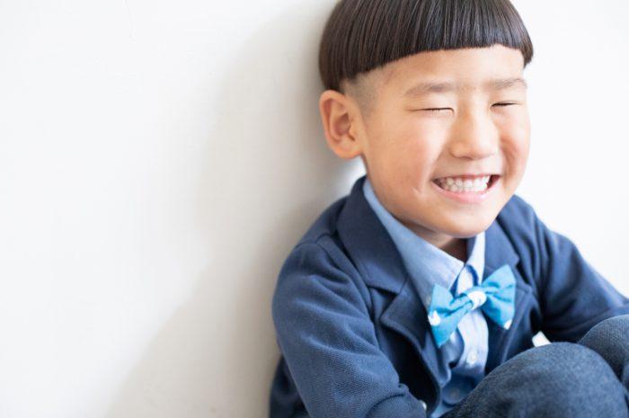 5歳七五三,スタジオ撮影,デニム着物,かっこいい,優しい笑顔