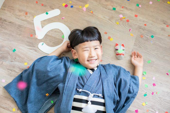 5歳七五三,スタジオ撮影,デニム着物,かっこいい,5歳万歳