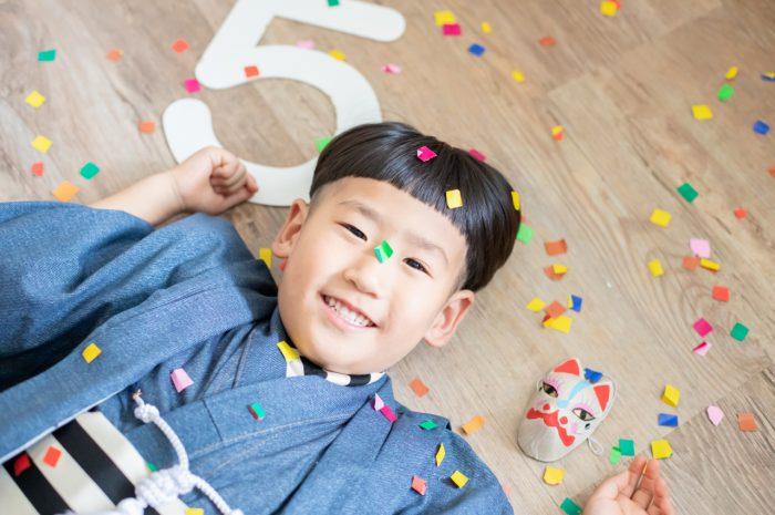 5歳七五三,スタジオ撮影,デニム着物,かっこいい,5歳
