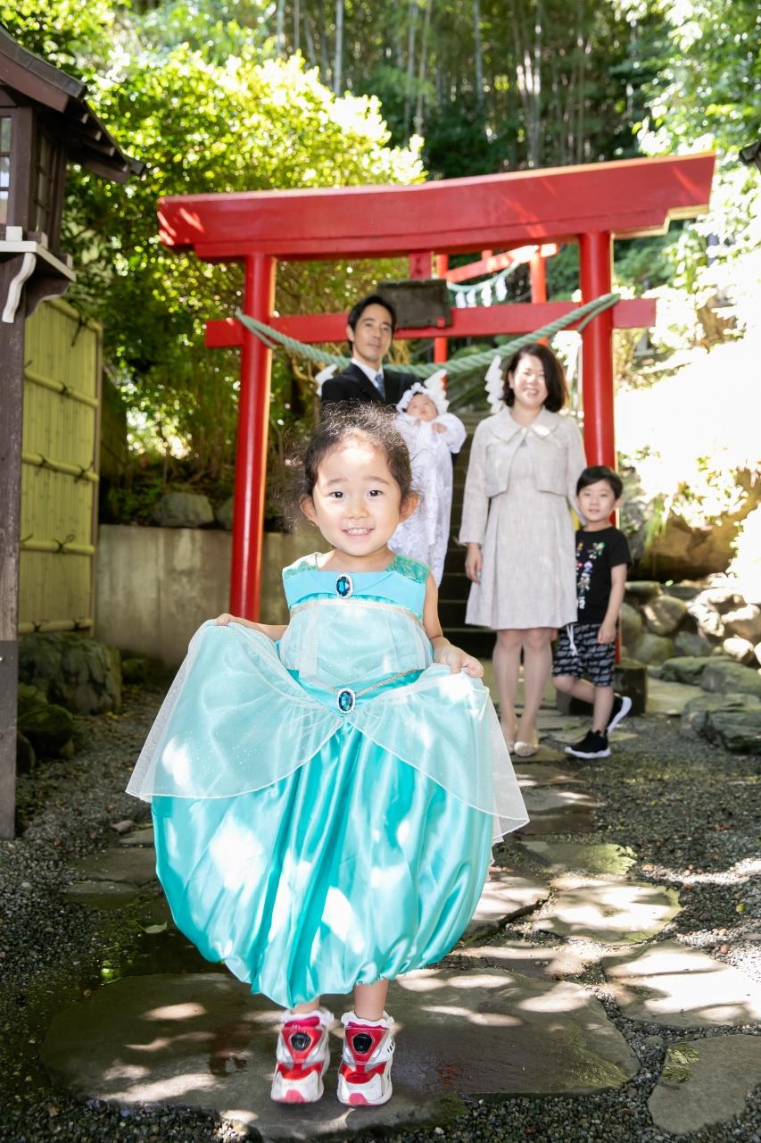 出張撮影,琴平神社,お宮参り,お姉ちゃんのドレス