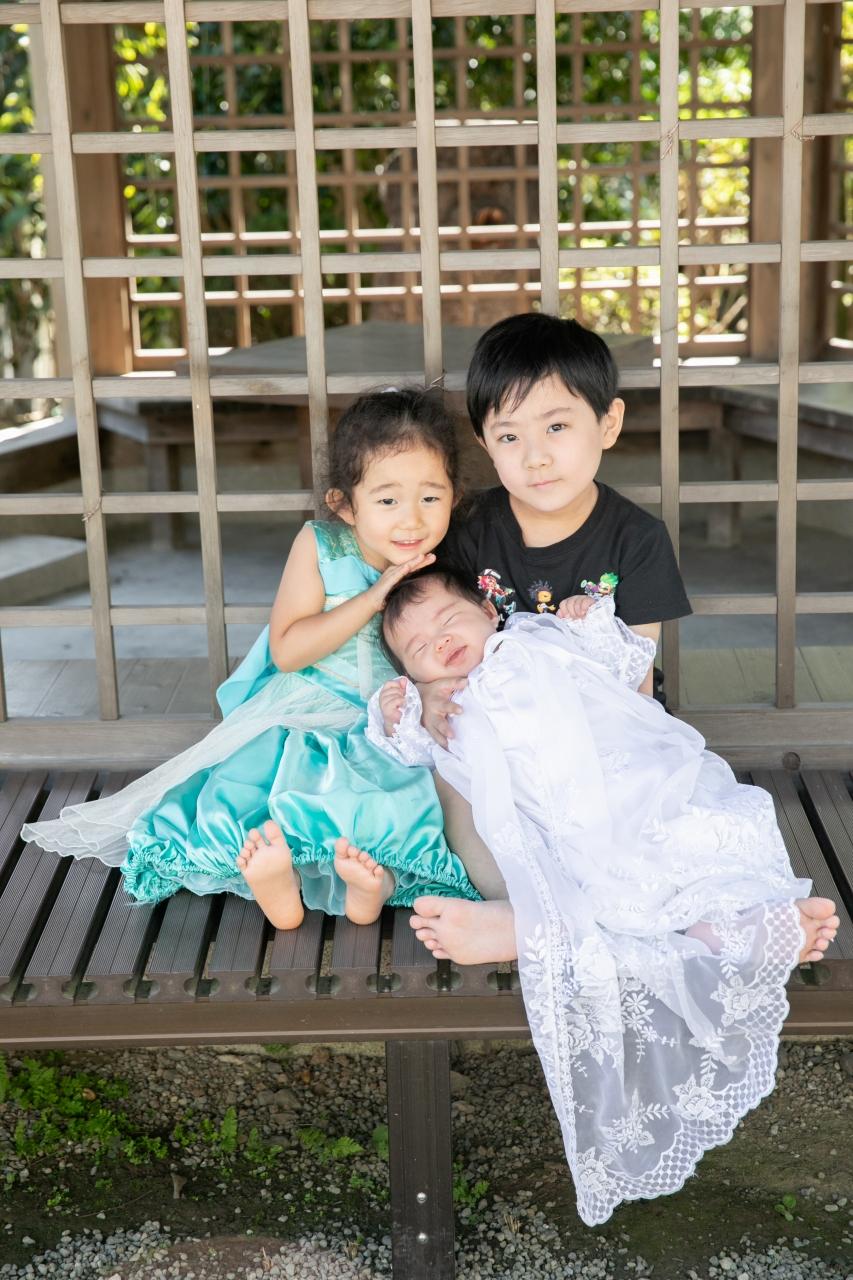 出張撮影,琴平神社,お宮参り,かわいい三兄妹