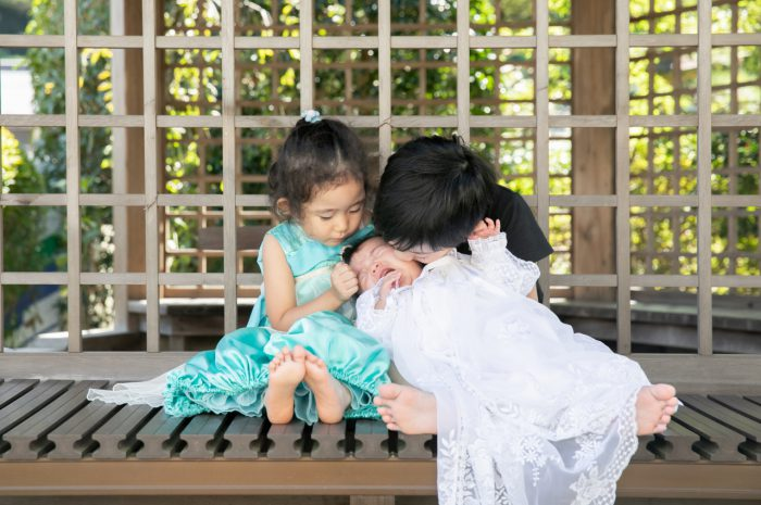 出張撮影,琴平神社,お宮参り,仲良し三兄妹