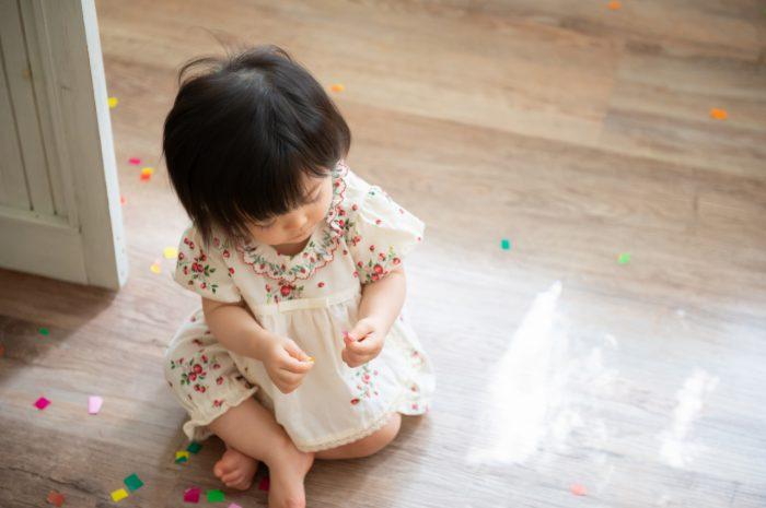 1歳女の子記念写真撮影,紙吹雪