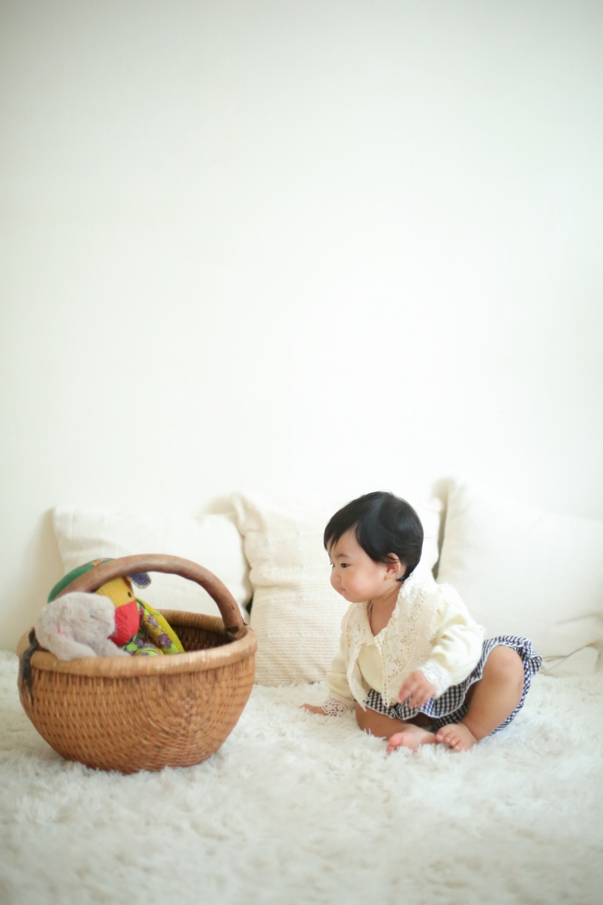 1歳女の子誕生日記念撮影,ぬいぐるみと