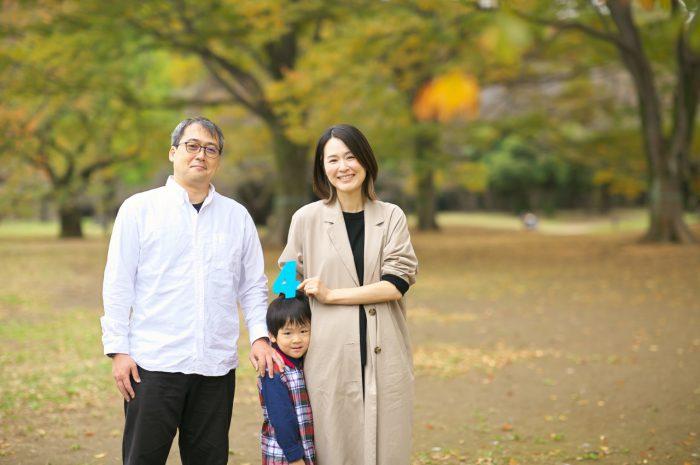 代々木公園家族写真撮影,4歳誕生日