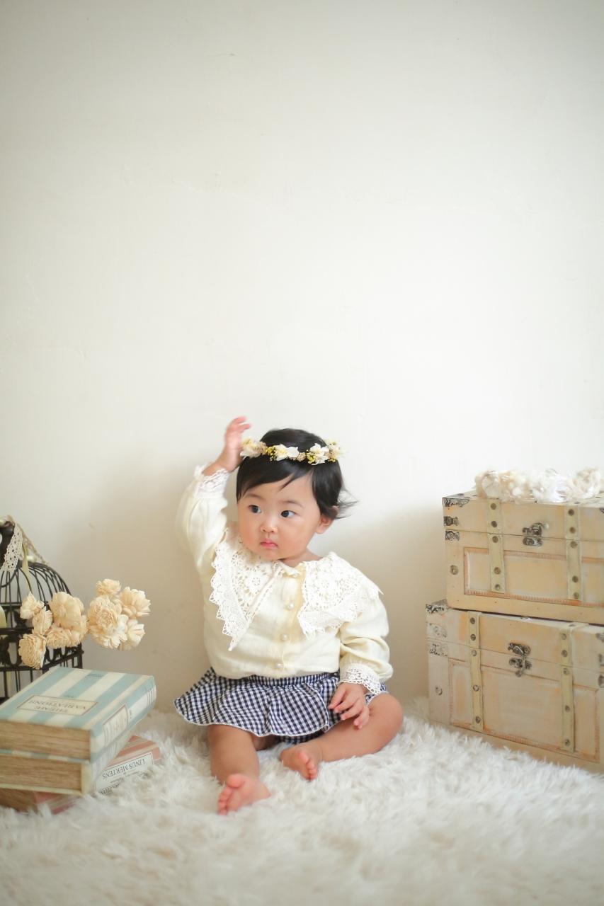 1歳女の子誕生日記念撮影,はーい