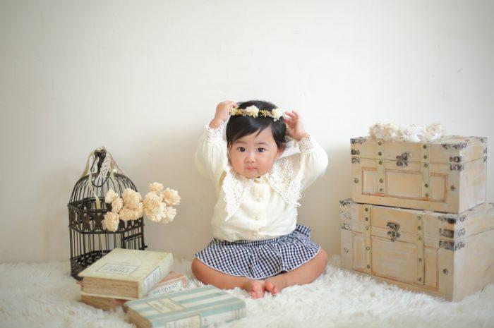 1歳女の子誕生日記念撮影,かわいい花冠