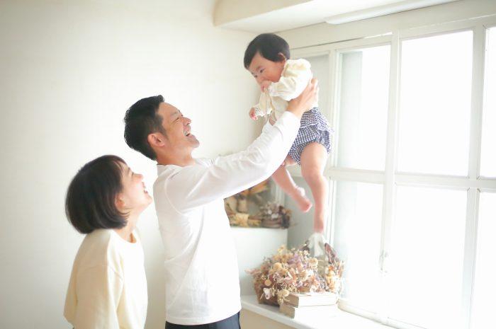 1歳女の子誕生日記念撮影,高い高い