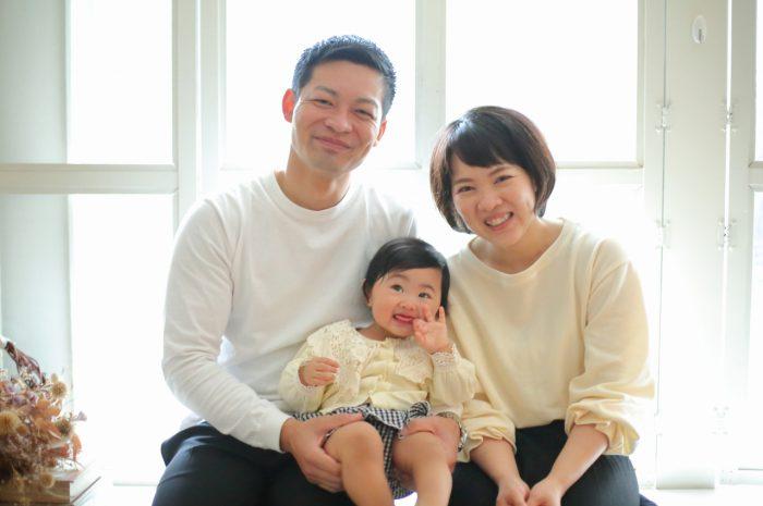 1歳女の子誕生日記念撮影,家族写真