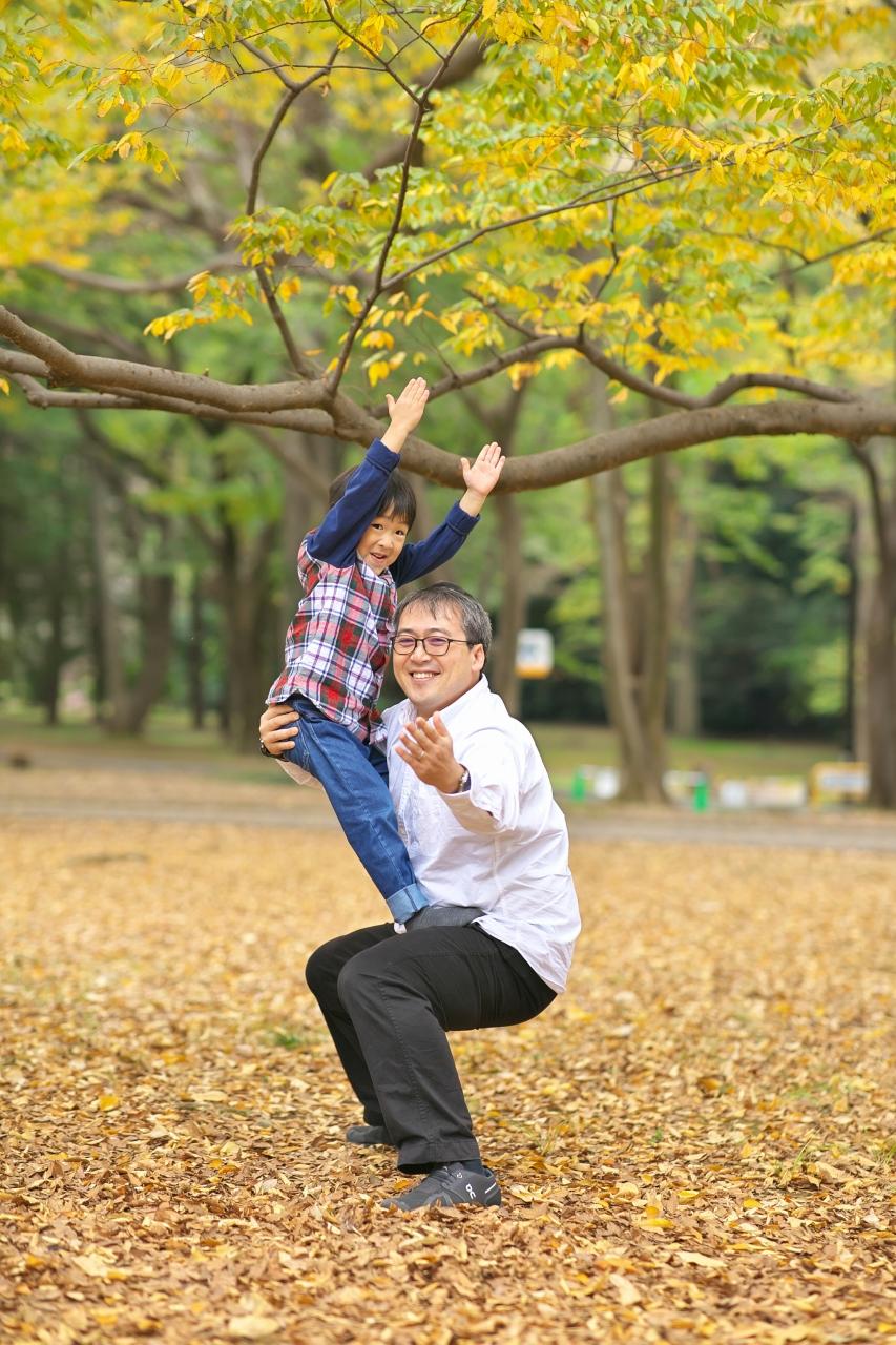 代々木公園家族写真撮影,4歳男の子誕生日記念撮影,組体操