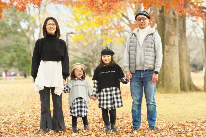 秋の家族写真,ロケーションフォト