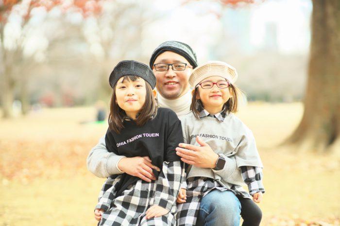 秋の家族写真,ロケーションフォト,フェルト帽コーデ,お父さんと一緒
