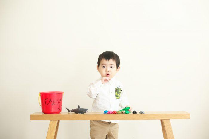 2歳男の子誕生日記念撮影,スタジオ撮影