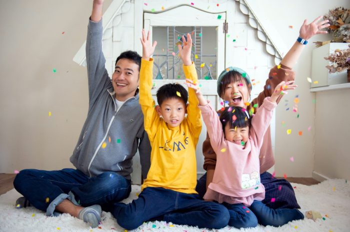 家族写真撮影,渋谷スタジオ,紙吹雪と