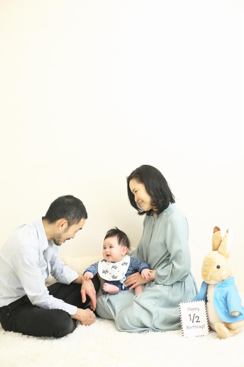 3人家族,ハーフバースディ,ハーフバースディ撮影,渋谷スタジオ