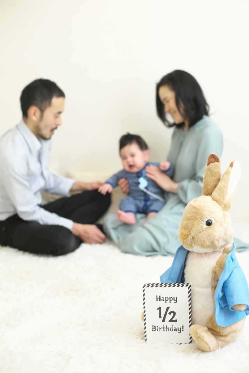 3人家族,ハーフバースディ,ハーフバースディ撮影