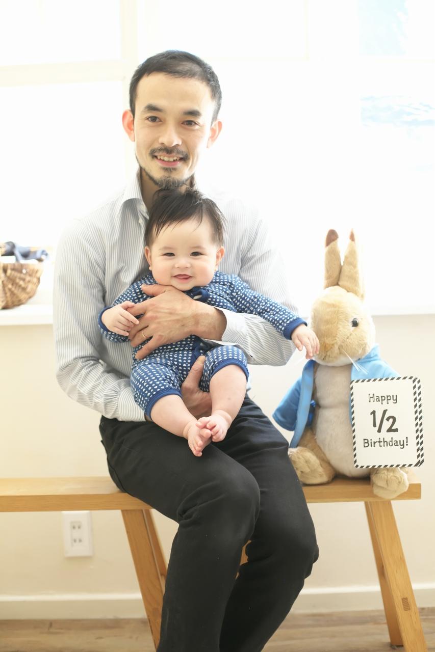 パパと赤ちゃん,スタジオ撮影