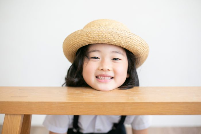 卒園記念写真,スタジオ撮影,幼稚園制服,夏服,麦わら帽子,かばん,おめでとう撮影,渋谷スタジオ