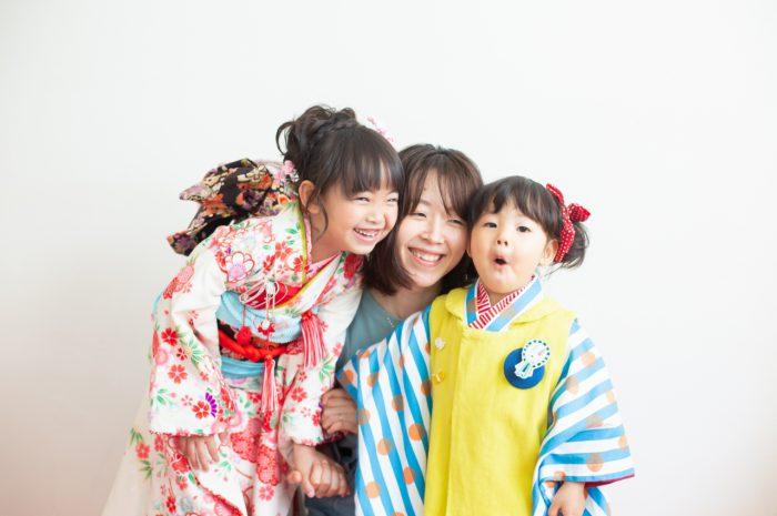 7歳七五三撮影,仲良し姉妹,大好きなママと