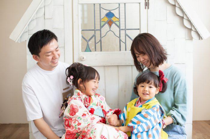 3歳七五三撮影,7歳七五三撮影,姉妹,家族写真撮影