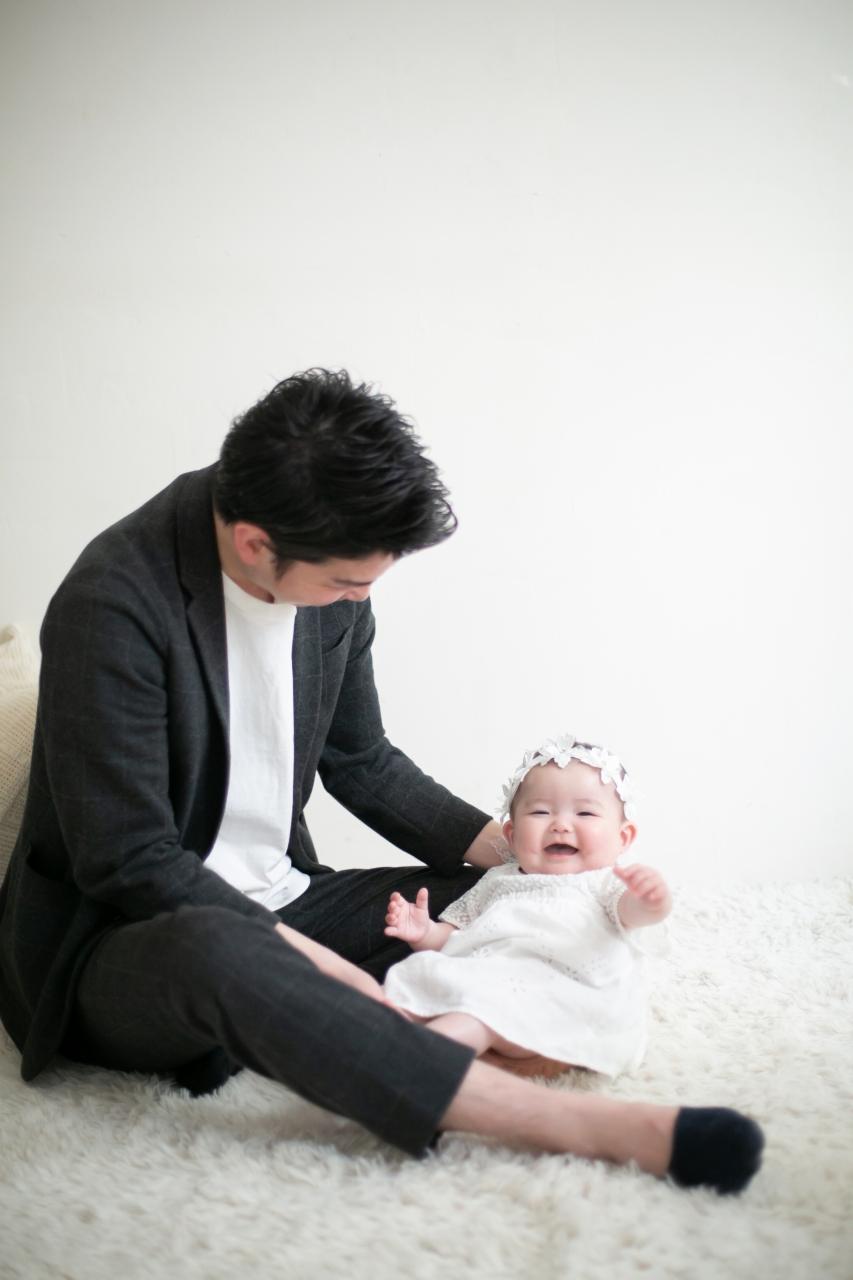 ハーフバースディ,記念写真,家族写真,渋谷スタジオ,パパと