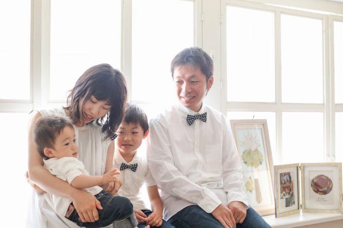 4人家族,写真撮影